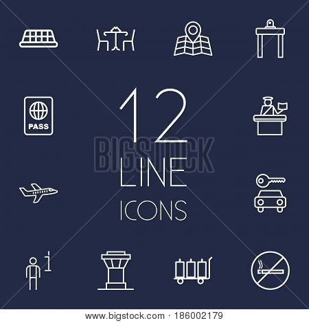 Set Of 12 Land Outline Icons Set.Collection Of Plane, Certification, Map And Other Elements.
