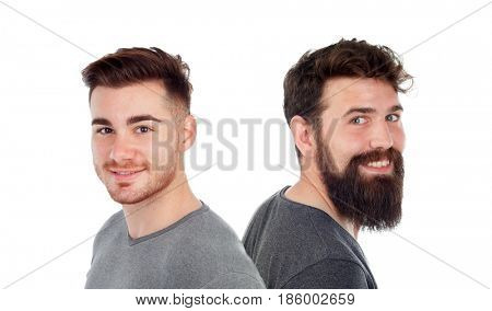 Two men with beard isolated on a white backgroung