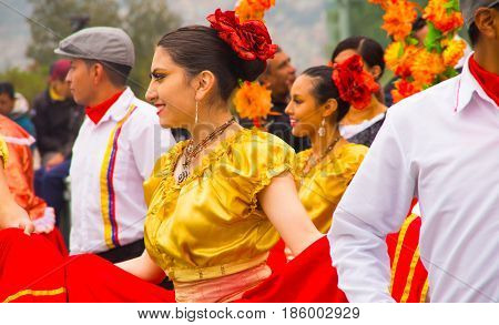 Quito, Ecuador - December 09, 2016: An unidentified people are dancing in parade in Quito, Ecuador.