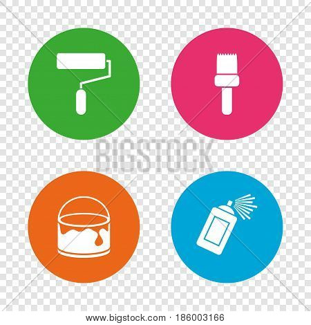 Painting roller, brush icons. Spray can and Bucket of paint signs. Wall repair tool and painting symbol. Round buttons on transparent background. Vector