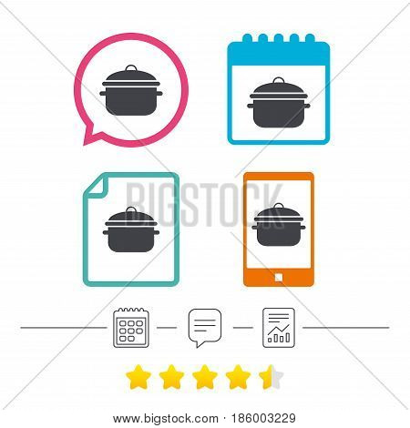 Cooking pan sign icon. Boil or stew food symbol. Calendar, chat speech bubble and report linear icons. Star vote ranking. Vector