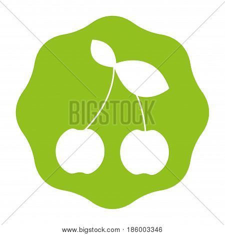 sticker cherry fruit icon stock, vector illustration design image