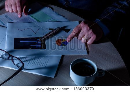 Businessman Working Late Night On Charts With Glasses, Coffee And A Silver Pen.