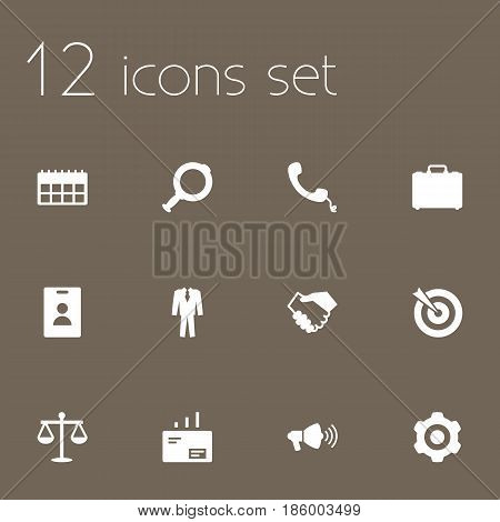 Set Of 12 Enterprise Icons Set.Collection Of Telephone, Loupe, Goal And Other Elements.