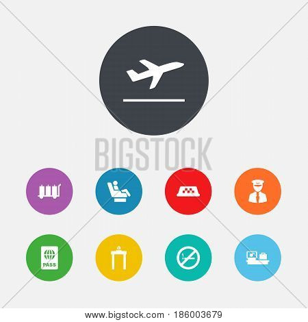 Set Of 9 Airplane Icons Set.Collection Of Leaving, Luggage Check, Metal Detector And Other Elements.