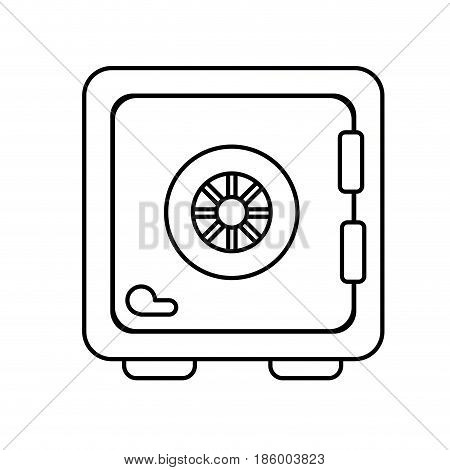 line strongbox close to security of special thing, vector illustration