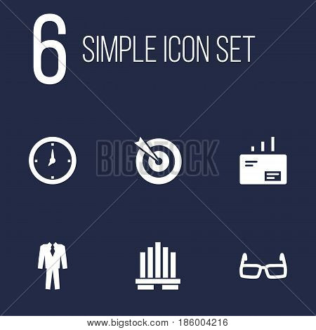 Set Of 6 Employment Icons Set.Collection Of Message, Time, Clothes And Other Elements.
