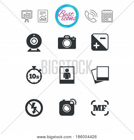 Presentation, report and calendar signs. Photo, video icons. Web camera, photos and frame signs. No flash, timer and portrait symbols. Classic simple flat web icons. Vector