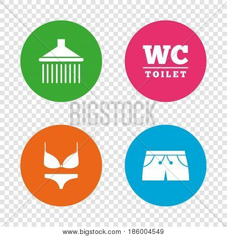 Swimming pool icons. Shower water drops and swimwear symbols. WC Toilet sign. Trunks and women underwear. Round buttons on transparent background. Vector