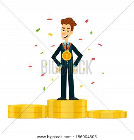 Happy and proud young businessman or manager with award medal On the money podium. Business win concept. EPS10 vector illustration.