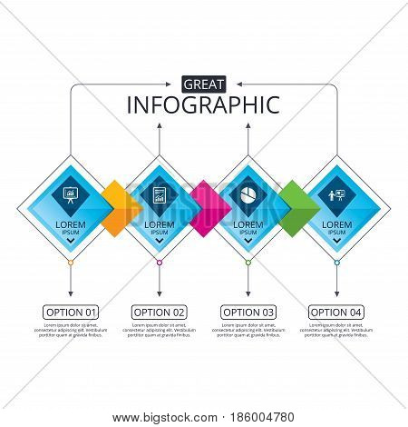 Infographic flowchart template. Business diagram with options. File document with diagram. Pie chart icon. Presentation billboard symbol. Supply and demand. Timeline steps. Vector