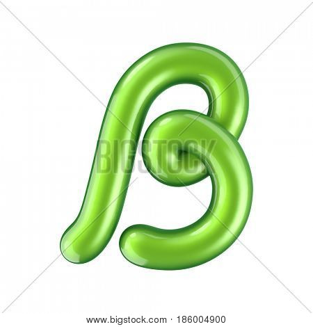 Glossy green letter B uppercase. 3D rendering font with glint isolated on white background.