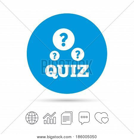 Quiz with question marks sign icon. Questions and answers game symbol. Copy files, chat speech bubble and chart web icons. Vector