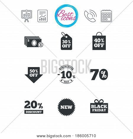 Presentation, report and calendar signs. Sale discounts icon. Shopping, black friday and cash money signs. 10, 20, 50 and 70 percent off. Special offer symbols. Classic simple flat web icons. Vector