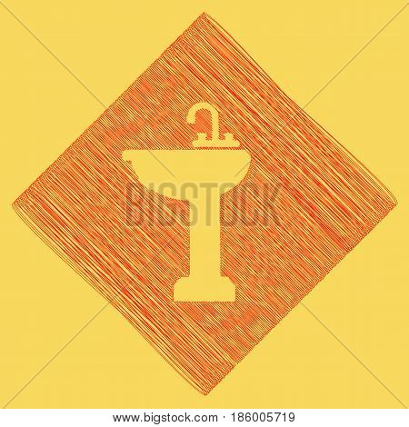 Bathroom sink sign. Vector. Red scribble icon obtained as a result of subtraction rhomb and path. Royal yellow background.