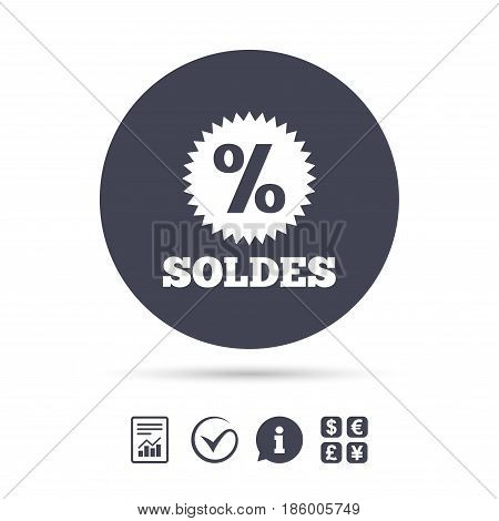 Soldes - Sale in French sign icon. Star with percentage symbol. Report document, information and check tick icons. Currency exchange. Vector