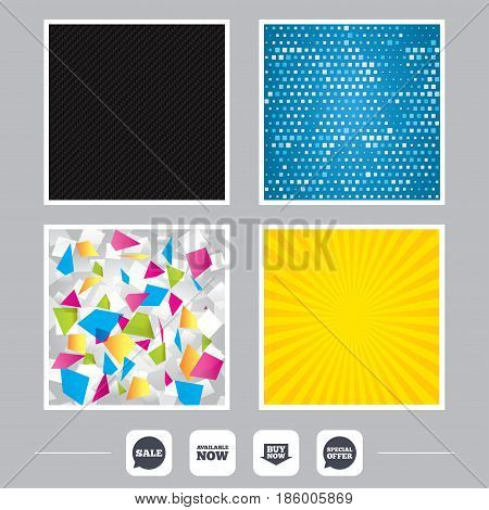 Carbon fiber texture. Yellow flare and abstract backgrounds. Sale icons. Special offer speech bubbles symbols. Buy now arrow shopping signs. Available now. Flat design web icons. Vector