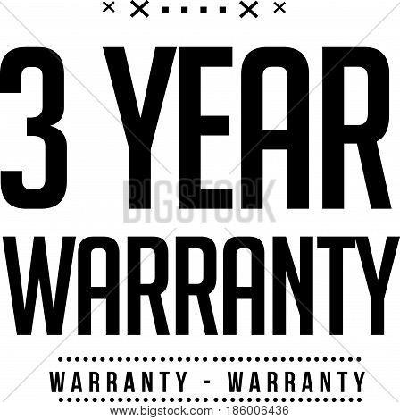 3 year warranty icon vector vintage grunge guarantee background