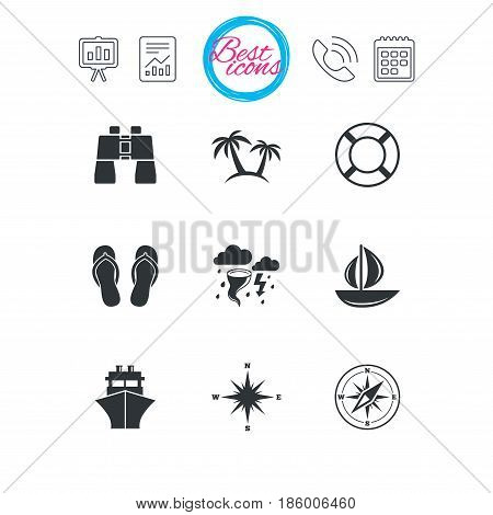 Presentation, report and calendar signs. Cruise trip, ship and yacht icons. Travel, lifebuoy and palm trees signs. Binoculars, windrose and storm symbols. Classic simple flat web icons. Vector