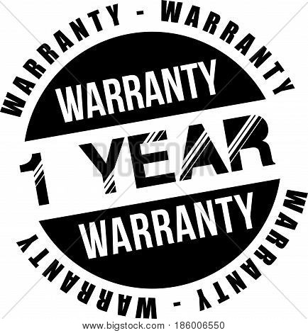 one year warranty vintage grunge black rubber stamp guarantee background