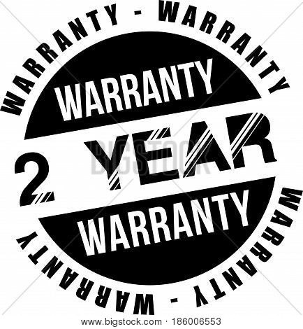 two year warranty vintage grunge black rubber stamp guarantee background