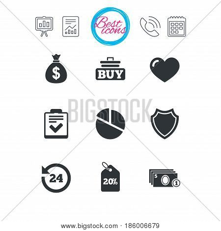 Presentation, report and calendar signs. Online shopping, e-commerce and business icons. Checklist, like and pie chart signs. Money bag, discount and protection symbols. Classic simple flat web icons
