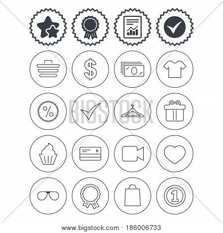 Report, check tick and award signs. Shopping icons. Shopping cart, dollar currency and cash money. Shirt clothes, gift box and hanger. Credit or debit card. Best quality star symbol. Flat buttons