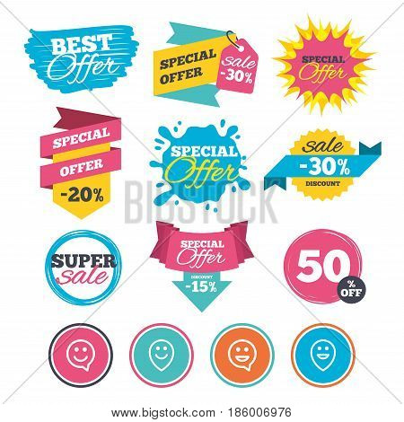 Sale banners, online web shopping. Happy face speech bubble icons. Smile sign. Map pointer symbols. Website badges. Best offer. Vector