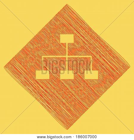Site map sign. Vector. Red scribble icon obtained as a result of subtraction rhomb and path. Royal yellow background.