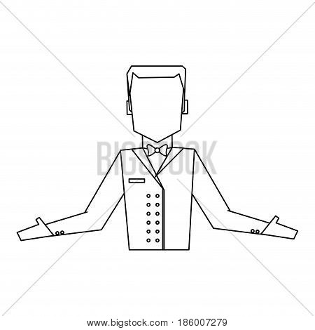 bellboy in uniform icon image vector illustration design  single black line