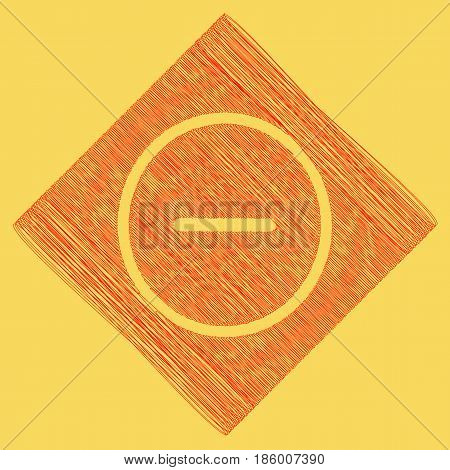 Negative symbol illustration. Minus sign. Vector. Red scribble icon obtained as a result of subtraction rhomb and path. Royal yellow background.