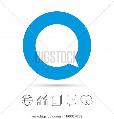 Chat sign icon. Speech bubble symbol. Communication chat bubbles. Copy files, chat speech bubble and chart web icons. Vector