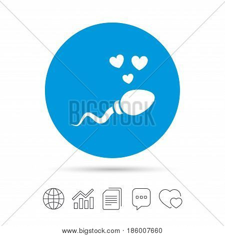 Sperm sign icon. Fertilization or insemination symbol. With heart. Copy files, chat speech bubble and chart web icons. Vector
