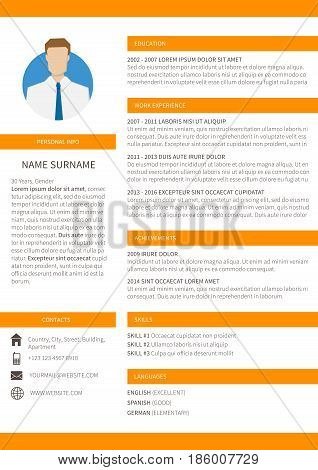 Vector resume cv minimalist template. Editable and ready to print layout orange version.
