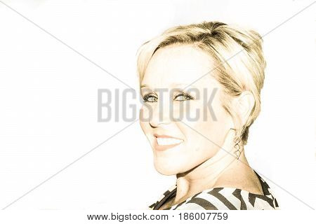 high key portrait of a short blonde haired smiling woman with great teeth