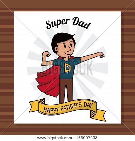 super dad happy fathers day card ribbon decoration vector illustration