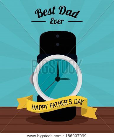 fathers day card, best dad ever. clock time ribbon decoration vector illustration