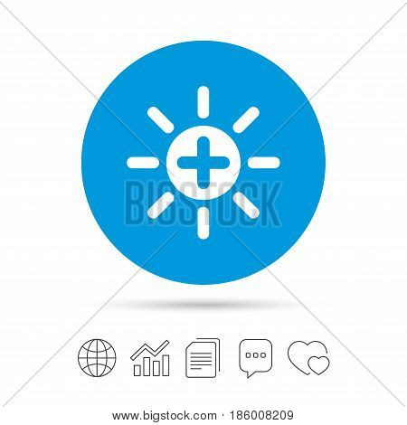 Sun plus sign icon. Heat symbol. Brightness button. Copy files, chat speech bubble and chart web icons. Vector