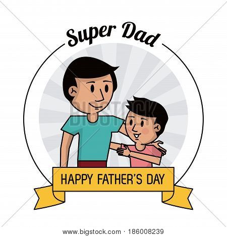 super dad. happy fathers day card, dad and son hugging image vector illustration