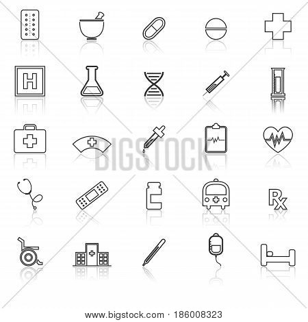 Pharmacy line icons with reflect on white background, stock vector