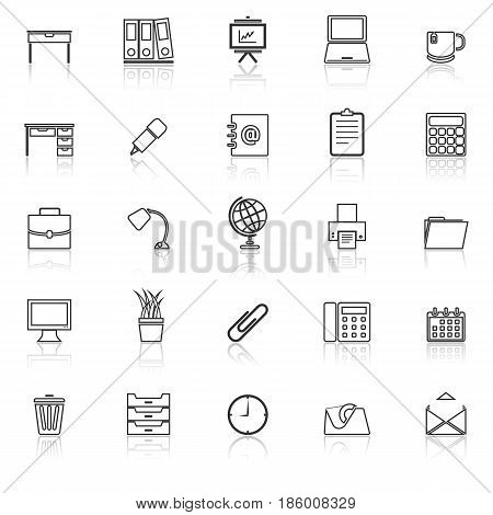 Workspace line icons with reflect on white background, stock vector