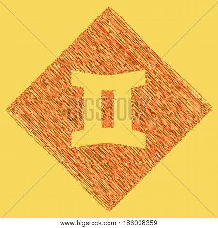 Gemini sign. Vector. Red scribble icon obtained as a result of subtraction rhomb and path. Royal yellow background.