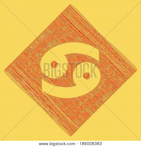 Cancer sign illustration. Vector. Red scribble icon obtained as a result of subtraction rhomb and path. Royal yellow background.