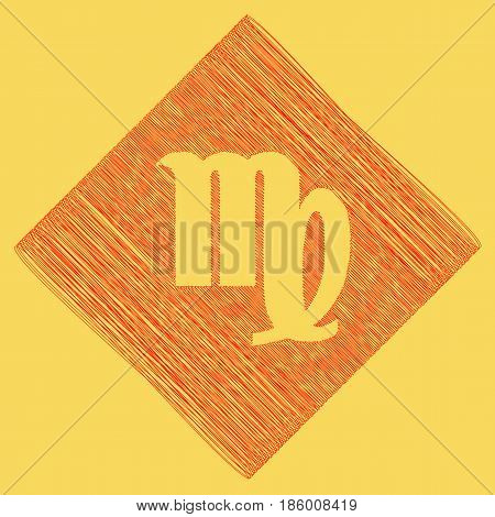 Virgo sign illustration. Vector. Red scribble icon obtained as a result of subtraction rhomb and path. Royal yellow background.