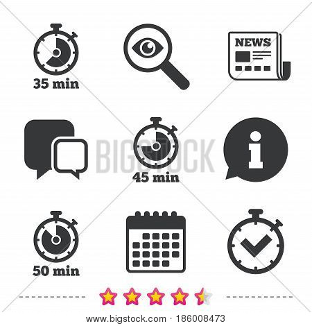 Timer icons. 35, 45 and 50 minutes stopwatch symbols. Check or Tick mark. Newspaper, information and calendar icons. Investigate magnifier, chat symbol. Vector