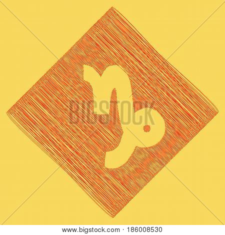Capricorn sign illustration. Vector. Red scribble icon obtained as a result of subtraction rhomb and path. Royal yellow background.