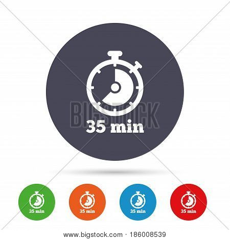 Timer sign icon. 35 minutes stopwatch symbol. Round colourful buttons with flat icons. Vector