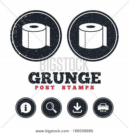 Grunge post stamps. Toilet paper sign icon. WC roll symbol. Information, download and printer signs. Aged texture web buttons. Vector