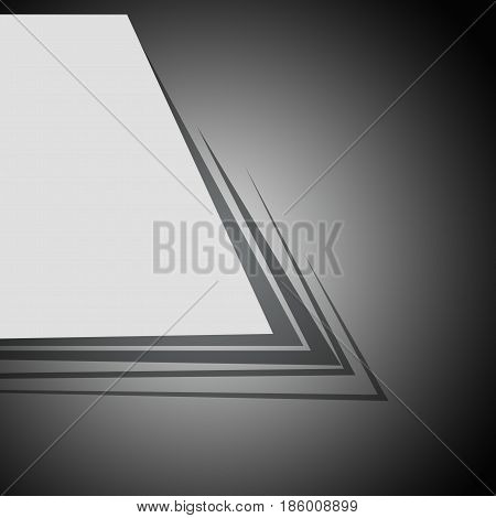 Set of sheets of paper on a black background. Abstract background with sheets of paper.