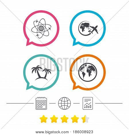 Travel trip icon. Airplane, world globe symbols. Palm tree sign. Travel round the world. Calendar, internet globe and report linear icons. Star vote ranking. Vector